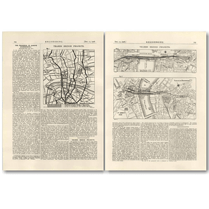 1926 Maps showing schemes for new Ludgate, Charing Cross Bridges