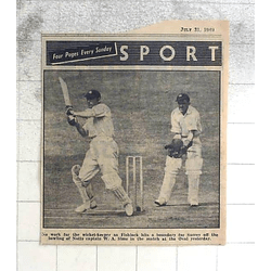 1950 Fishlock Hits A Boundary For Surrey From Bowling Notts Captain W.a. Sime