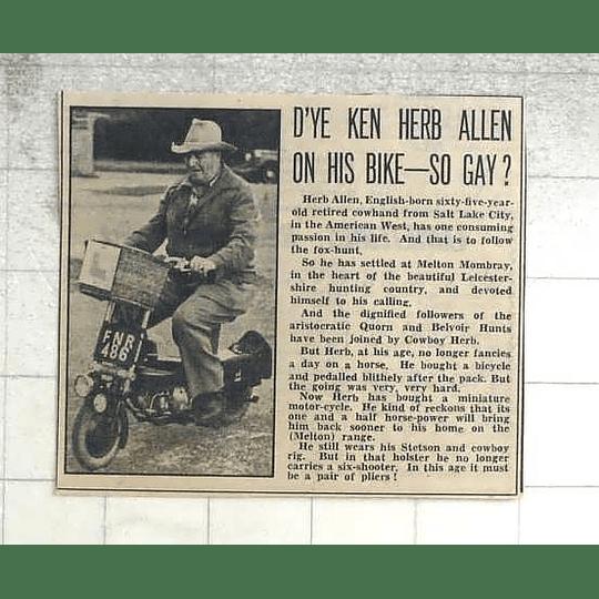 1950 Herb Allen, Retired Cowhand Salt Lake City Settles In Melton Mowbray
