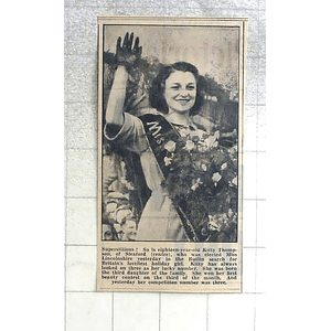 1950 18-year-old Kitty Thompson Of Sleaford Elected Miss Lincolnshire