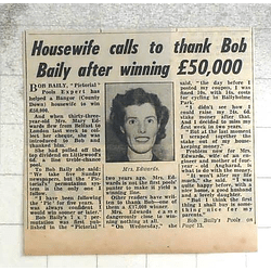 1950 Mrs Mary Edwards, Bangor County Down Wins £50,000 For Sixpence