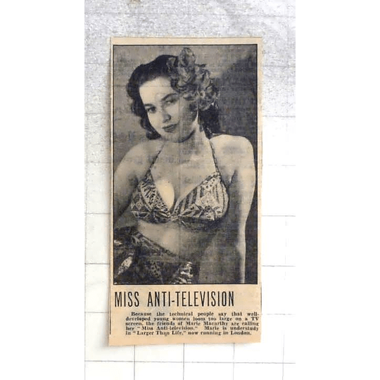 1950 Marie Mccarthy, Miss Anti-television Understudy In Larger-than-life