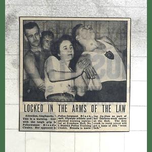 1950 Policewoman Brenda Cleuley, Jujitsu Training Police Sgt Blackwell