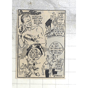 1950 Berryman Cartoon, Danny O'sullivan Having A Crack At The World Bantam Title