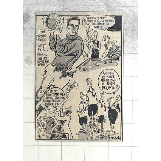 1950 Berryman Cartoon Keith Toner, Goalie, Capped For Wales