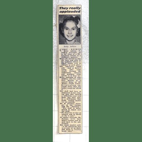 1950 12-year-old Betty Ashton, Wesley Castle Estate Birmingham, Lovely Voice