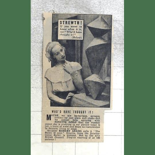 1950 Ninette Gold Studying Ballet Dancer Sculpture By Robert Adams