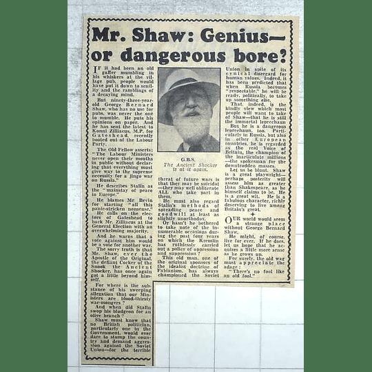 1950 George Bernard Shaw Genius Or Dangerous Bore?