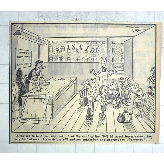 1950 David Langdon Cartoon Soccer Season And The Glazier