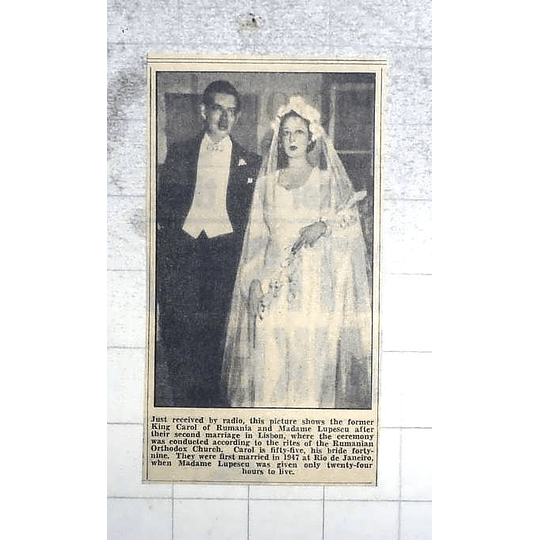 1950 Former King Carol Of Romania Marries Mme Lupescu
