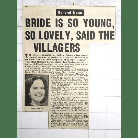 1950 Hatfield Peverel Village Church Rose Saville Marries William Albert Upjohn