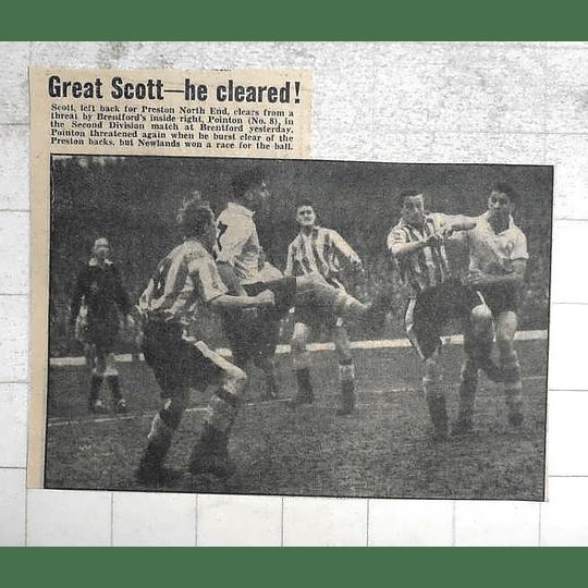 1950 Preston North End, Scott, Clears Threat By Brentford Pointon