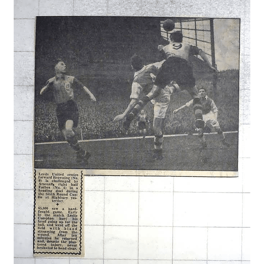1950 Leeds United Centre Forward Browning Challenged By Arsenal Forbes