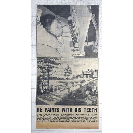 1950 Henry Ullberg Painting With His Teeth, Excellent Watercolours
