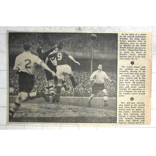 1950 Burnley Arsenal Cup Tie Match, Swindin Hunches Away Attack