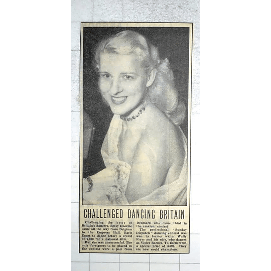 1950 Betty Doorme From Belgium Dancing For National Title