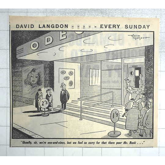 1950 David Langdon Cartoon, Sympathy For Poor Mr Rank