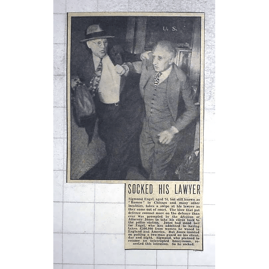 1950 Chicago Romeo Sigmund Engel Punches His Lawyer Leaving Court