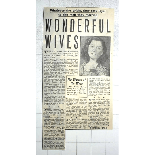 1950 Woman Of The Week Mrs Marie Raven Loyal To The Man She Married