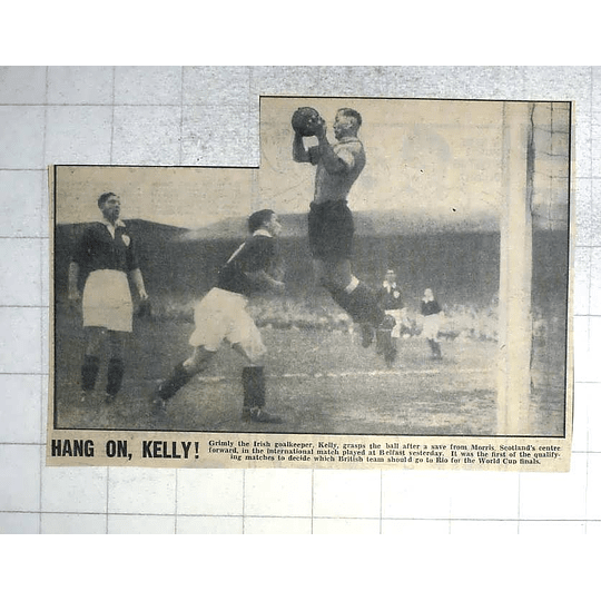 1950 Scotland V Ireland Belfast Football, Goalkeeper Kelly Saves From Morris