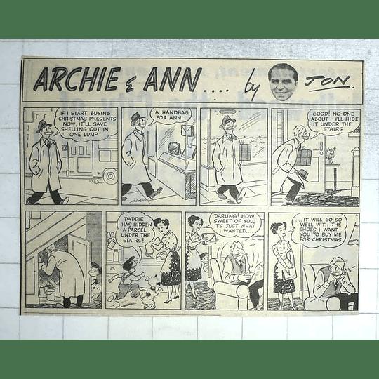1950 Archie And Ann... Christmas Shopping Strip Cartoon By Jon