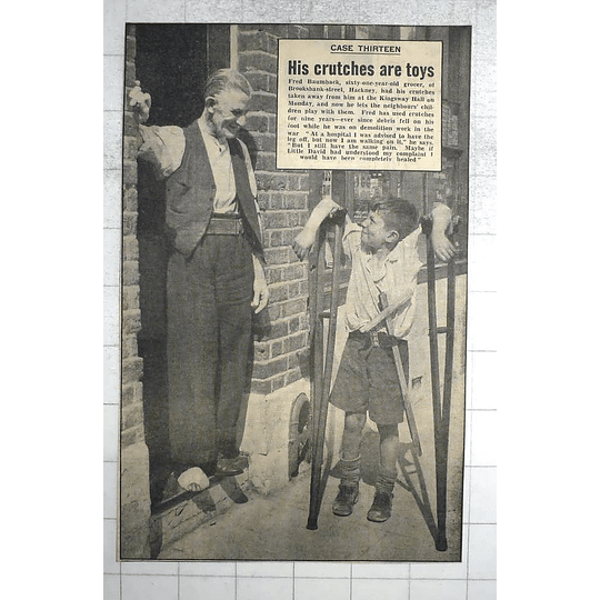 1950 61-year-old Grocer Fred Baumback, Brooksbank Street Hackney, No Crutches
