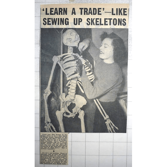 1950 Croydon Firm Manufacturing Skeletons, Miss Palmer Sewing Them Together
