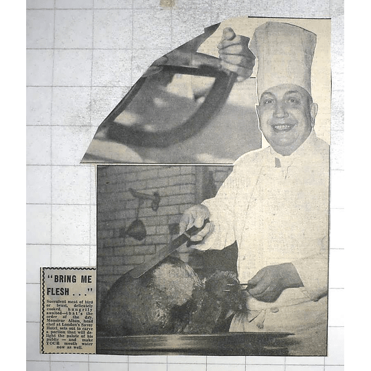 1950 M Alban Head Chef London Savoy Hotel