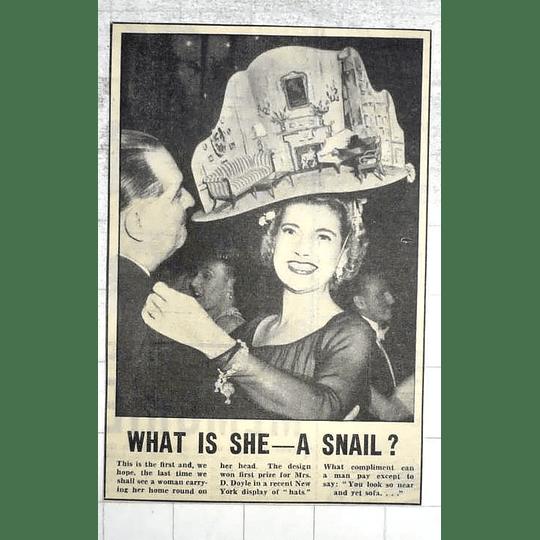 1950 Mrs D Doyle Wins New York Hat Display, House On Head