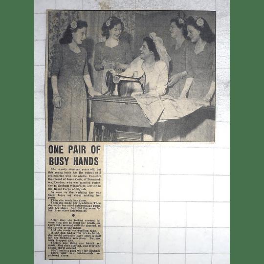 1950 19-year-old Joyce Cook, Bermondsey Marries Graham Winters , Signals