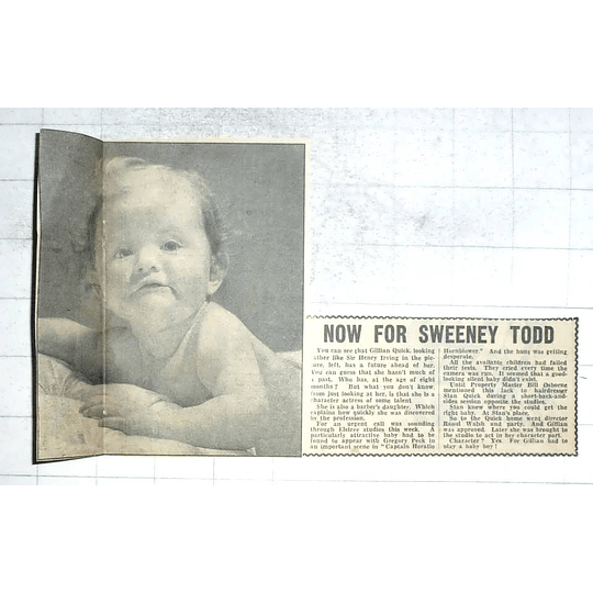 1950 Eight-month-old Gillian Quick Plays Baby Boy Character