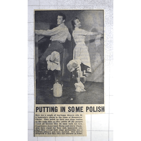 1950 Dance Team Marge And Gower Champion Polish Up Their Marriage