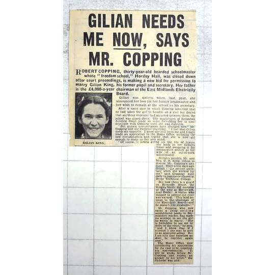 1950 Controversial Marriage Bid, Robert Copping, 30, Horsley Hall, Gilian King