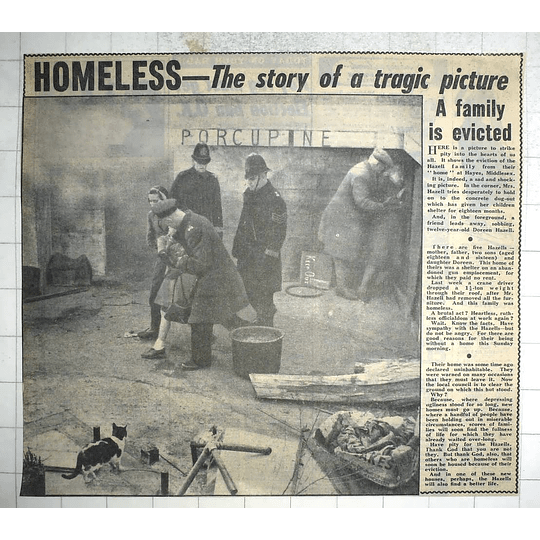 1950 Tragic Eviction Of Hazell Family, Hayes Middlesex