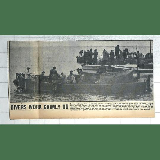 1950 Admiralty Divers And Frogmen Work On Sunken Submarine Truculent