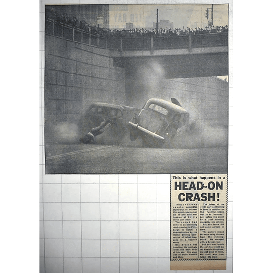 1950 Better Driving Committee Shows Head-on Crash Road Crossing Pittsburgh