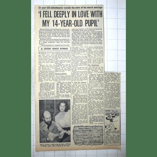 1950 Edward Reynolds 31-year-old Schoolmaster Marries 15-year-old Shirley Shaw