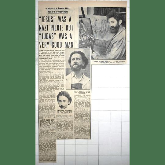 1950 Jesus Was Nazi Pilot,judas Zwink Good Man, Gabriele Gropper, Oberammergau