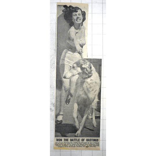 1950 Joan Farrant With Her Borzoi, After Winning Hastings Battle