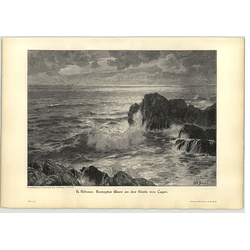 1902 K Bohme ~ Rough Sea Off The Coast Of Capri Artwork