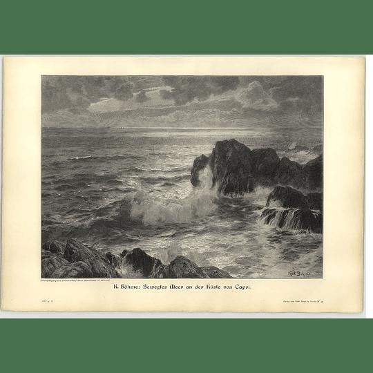 1902 K Bohme ~ Rough Sea Off The Coast Of Capri Artwork