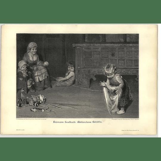 1902 Hermann Kaulbach ~ Mother's Little Helper Artwork