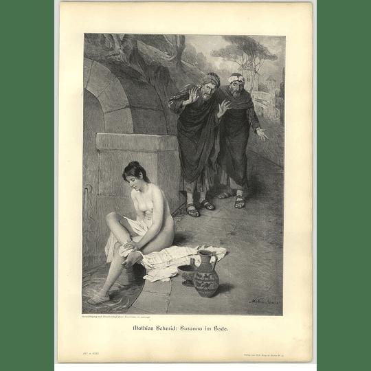 1902 Mathais Schmidt ~ Susanna In The Bath Artwork