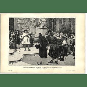 1902 H Vogel ~ F W Von Brandenburg Welcomes Huguenot Refugees Artwork