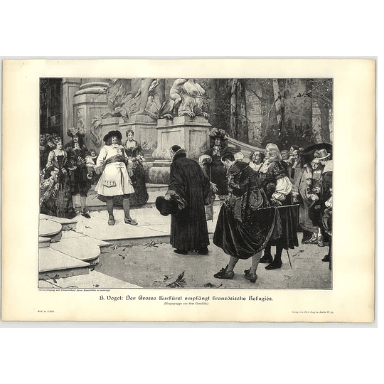 1902 H Vogel ~ F W Von Brandenburg Welcomes Huguenot Refugees Artwork