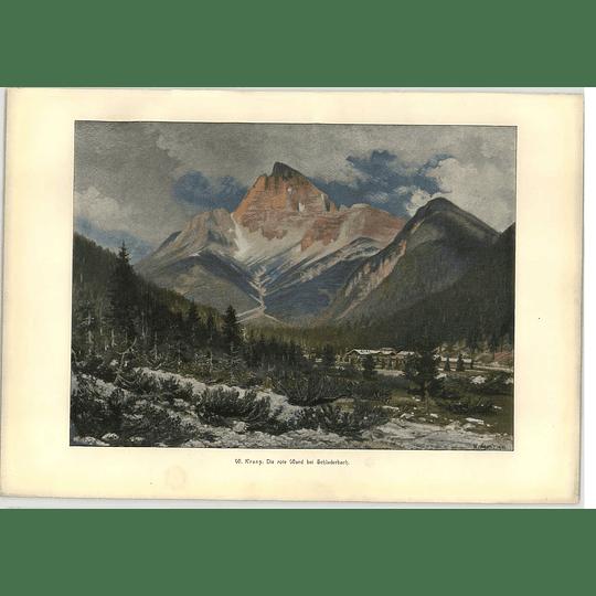 1902 W Kranz ~ The Red Wall Near Schluderbach South Tyrol Artwork