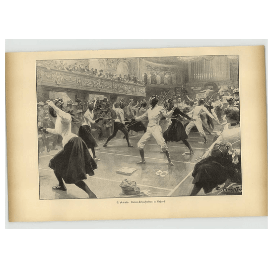 1902 G Amato ~ Women Fencing In Oxford Artwork
