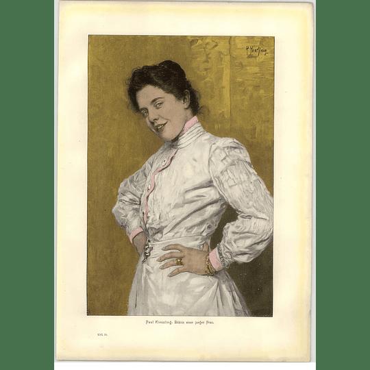 1902 Paul Kiessling ~ Portrait Of A Young Woman Artwork
