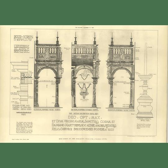 1904 Rood Screen St John, Bois-de-luc, Inscription, Candelabrum, Swarbrick