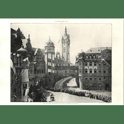 1904 Town Hall, Frankfurt, Crowds Lining The Street